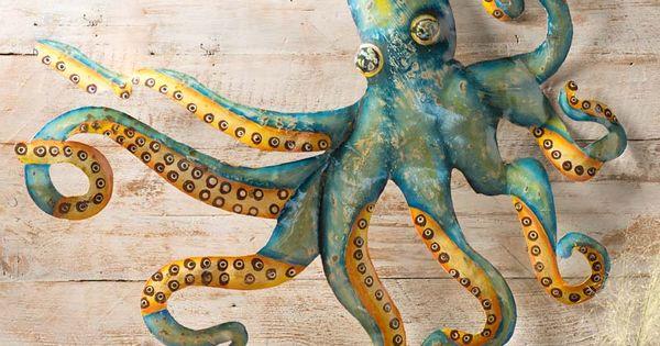 Handcrafted Metal Octopus Wall Art