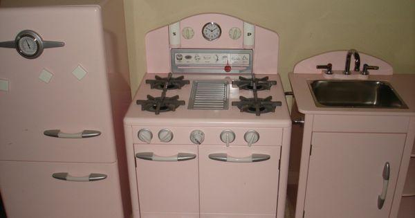 Pottery Barn Kids Pink Retro Kitchen Sink Refrigerator
