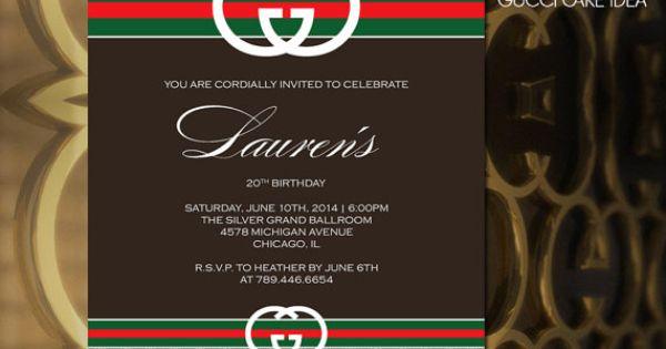 Printable Gucci Theme Invitation Birthday Sweet Sixteen