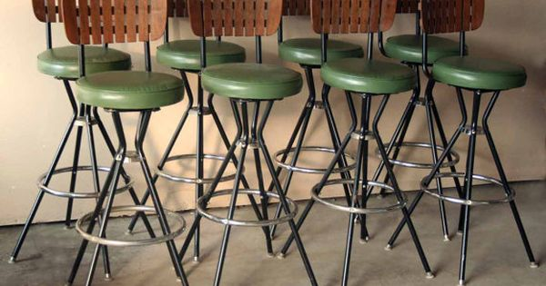 Retro Green And Wooden Bar Stool Slat Back Mid Century Modern Design Black And Silver
