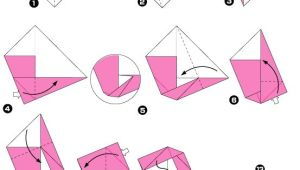 Diagram of peony origami, stage 1 | Origami Flowers