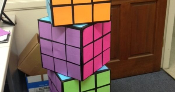 80 S Party Rubix Cube Decor 12x12 Boxes Painted Black