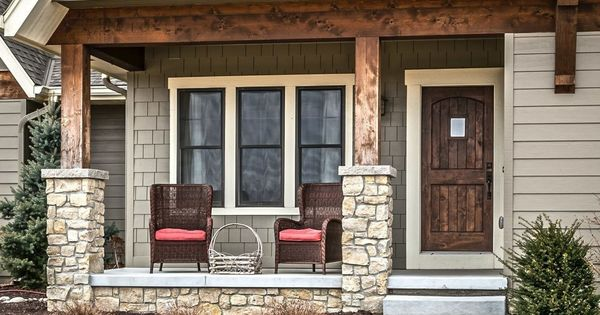Rustic Porch With Double Hung Window Pathway Exterior