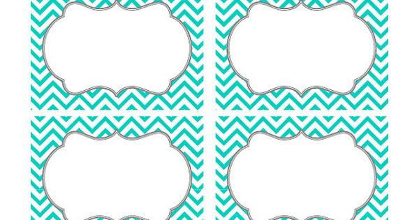 Turquoise Chevron Labels Print Your Own By TracyAnnDigitalArt 500 Cute Pinterest