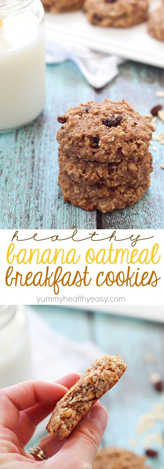 These Healthy Banana Oatmeal Breakfast Cookies are SO easy to make, have no butter or oil, and have only 165 calories in each