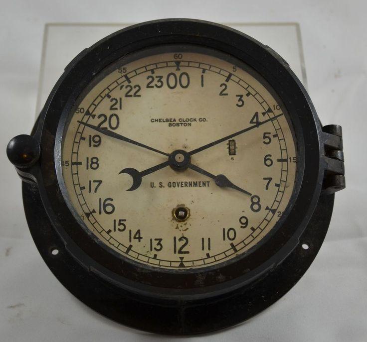 Vintage Marine Ships Clock Bakelite Chelsea Clock Co Boston US Government Issue Clock Ruby