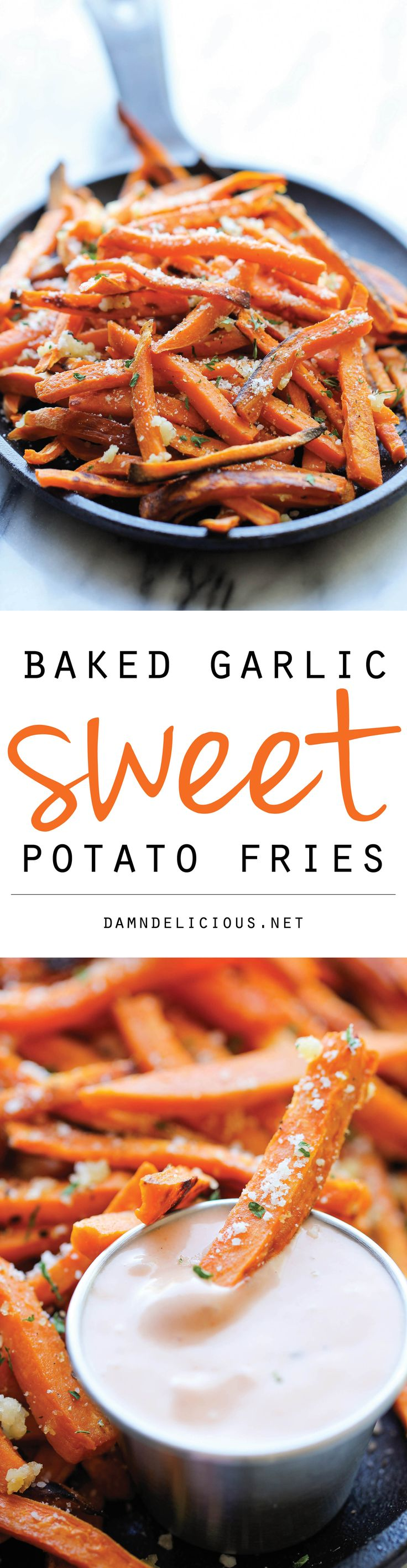 Baked Garlic Sweet Potato Fries – Amazingly crisp on the outside and tender on the inside, and so much better than the fried