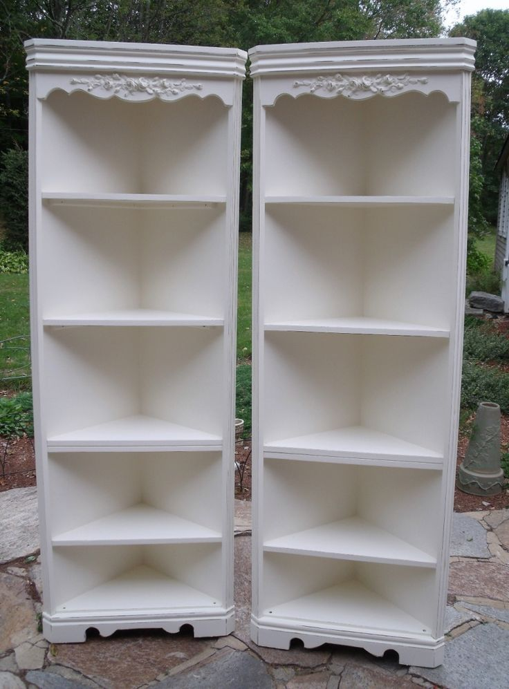 French Style Matching Corner Cabinets With Roses White