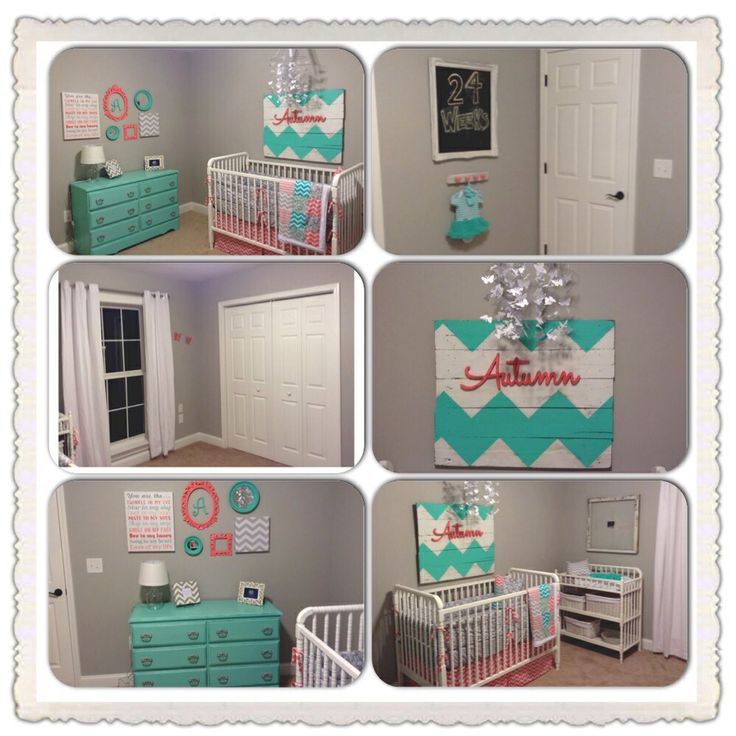 Coral And Aqua Chevron Nursery Painted Pallet Sign