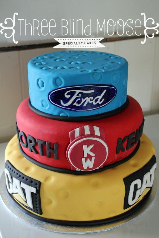 Ford Kenworth Cat 30th Birthday Cake Male Bright