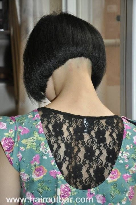 Short Bob Smooth Razored Nape And A Lacey Girlie Top