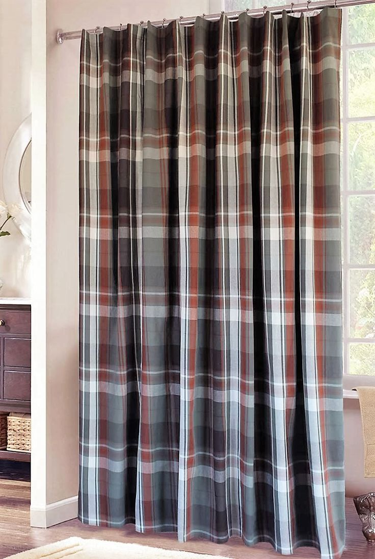 Plaid Shower Curtain In Grey Rust And White Bathroom Stuff Pinterest Plaid Grey And Products