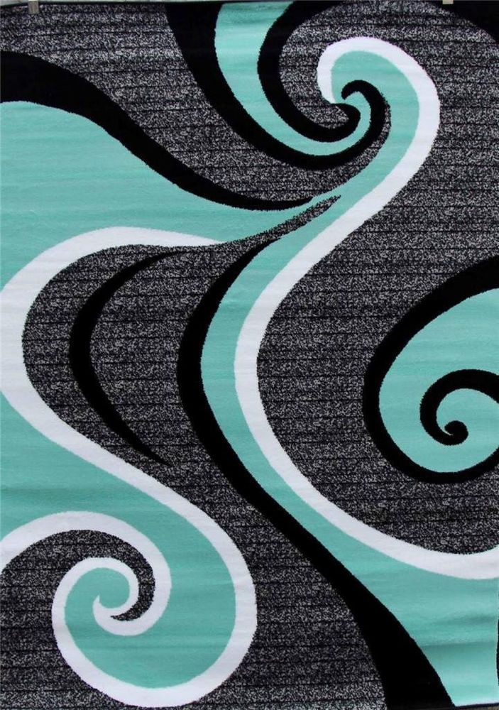 Turquoise Swirls 5x7 Area Rug Modern Contemporary Abstract Gray Black White Turquoise Gray