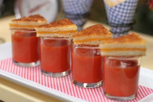Tomato Soup Shooters with Mini Grilled Cheese - Chic Bridal Shower Menu Idea: Mini Comfort Foods