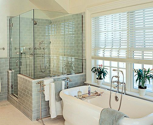 Master Bath inspiration, soaking tub, blue/green subway tile… Waterworks, Ice Water Blue Field Tile, Kohler Tub