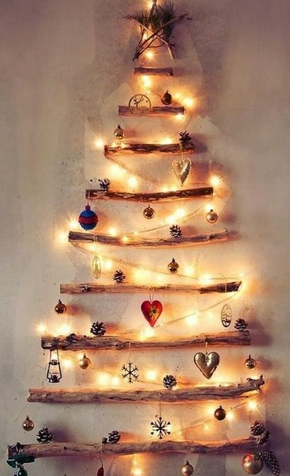 I want to do this in my house this year.  Twig Christmas Tree with Lights - DIY Christmas Decorations: