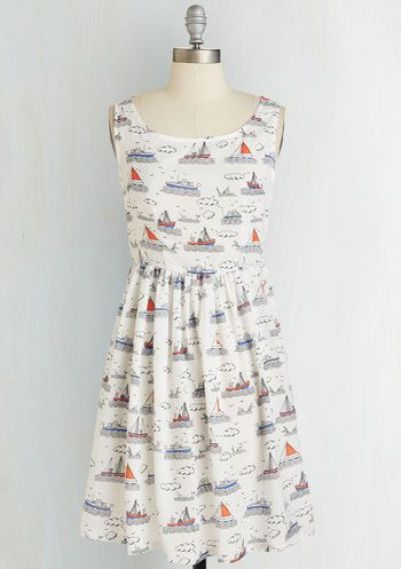 White Boat Print Skater Dress by Cutie £32.00 from New Look or $59.99 from Modcloth