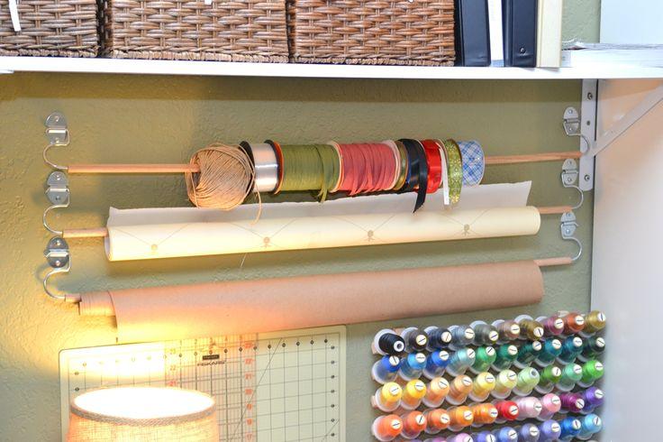 Diy wall mounted wrapping paper ribbon holder