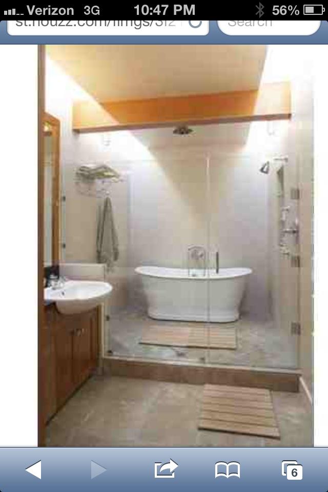 Freestanding tub in shower | Bath Design | Pinterest ... on Wet Room With Freestanding Tub  id=37236