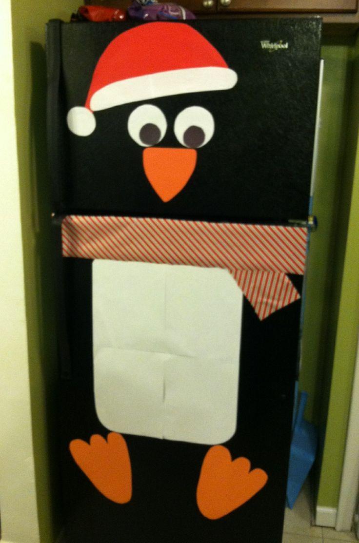 My Penguin Fridge Since I Dont Have A White Fridge For A Snowman Christmas Pinterest I