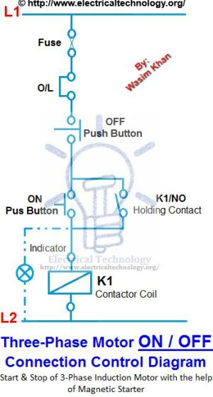 ON  OFF 3Phase Motor Connection Control Diagram