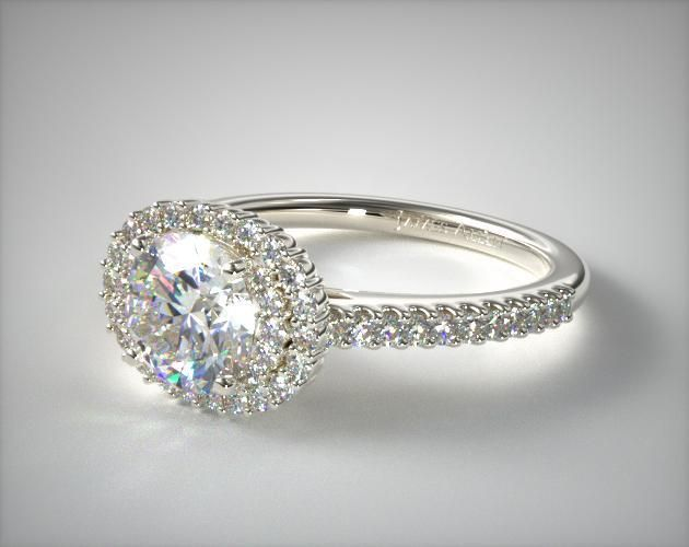 14K White Gold Octagon Halo Diamond Engagement Ring