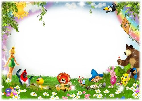 Children Photoshop frame psd file with cartoon characters ...