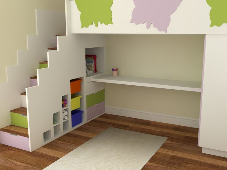 Butterfly Themed Quality High Sleeper Bed With Storage