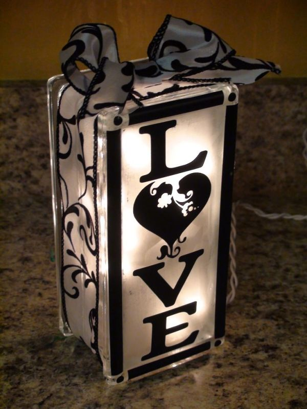Made from a frosted glass block filled with lights (found ...