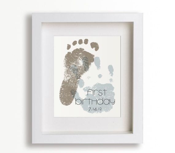 First Birthday Art Print – Personalized Hand and Foot Prints – 8×10 – Personalized Decor, Children Decor, Keepsake, Footprint,