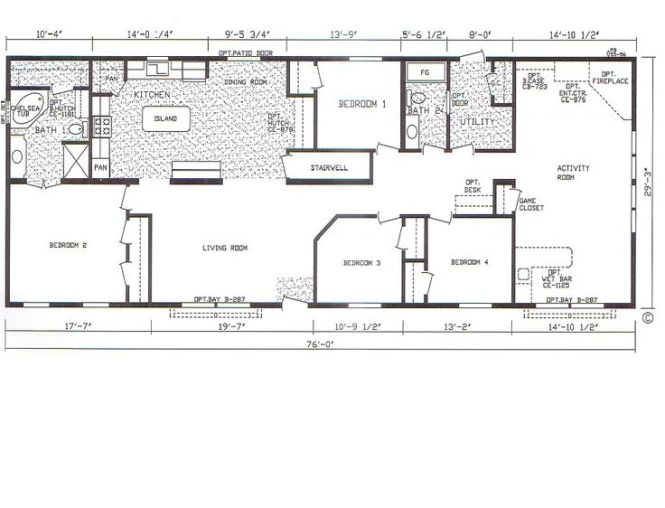 Floor Plan For 4 Bedroom 3 Bathroom Mobile Home Modular Plans