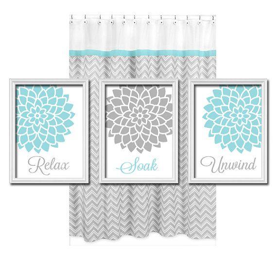 Relax Soak Unwind – Grey Gray Aqua Blue – Flourish Dahlia Flower Artwork Set of 3 Bathroom Prints WALL Decor ART Picture Match on