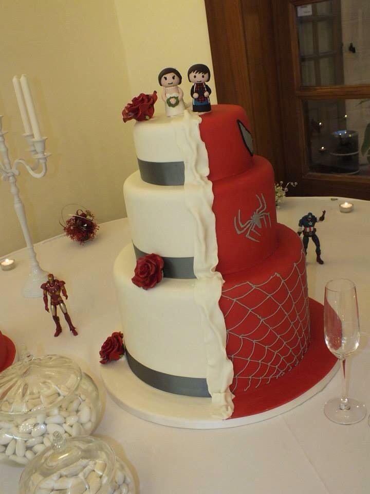 Superhero Wedding Cake Half Spider Man And Half Pretty