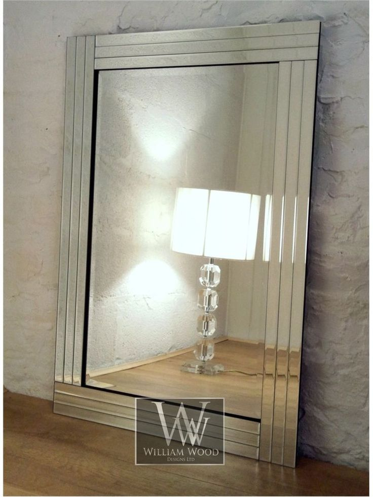 trevina silver glass framed rectangle bevelled wall mirror on mirror wall id=61237