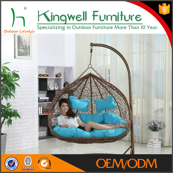 Dual Seating Outdoor Wicker Swing Chair  Double Hanging Rattan Chair     wholesale high quality fantastic indoor or outdoor patio synthetic rattan  furniture double hanging swing chair with dual seating outdoor wicker swing  chair