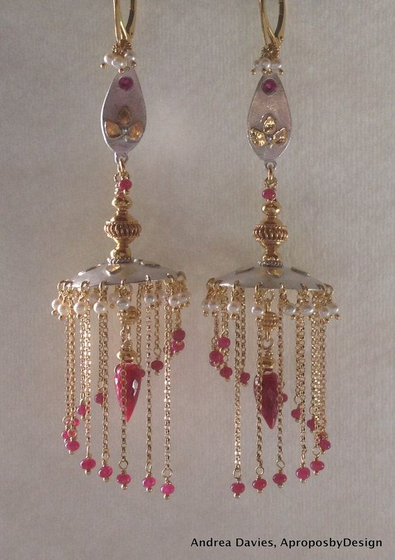 Moti Earrings Gold Finish And Pearl Chandelier