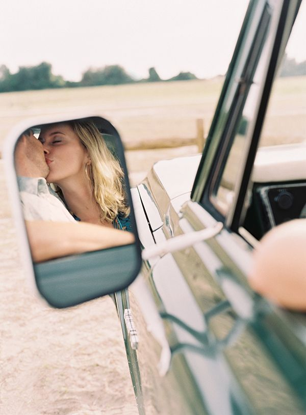 Adore this engagement shoot. Chevy mirror shot. Odalys Mendez. This could be use
