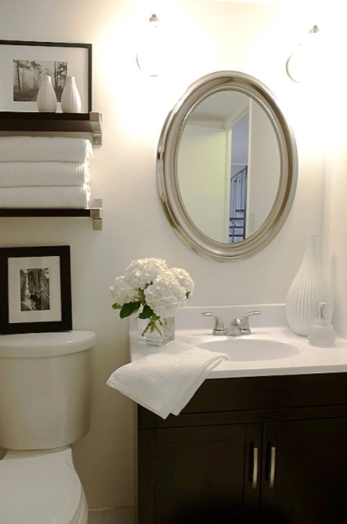 This would be a great look for our tiny bathroom!  It would also provide more st