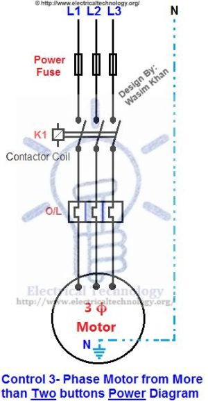 Control 3Phase Motor from more than Two buttons Power