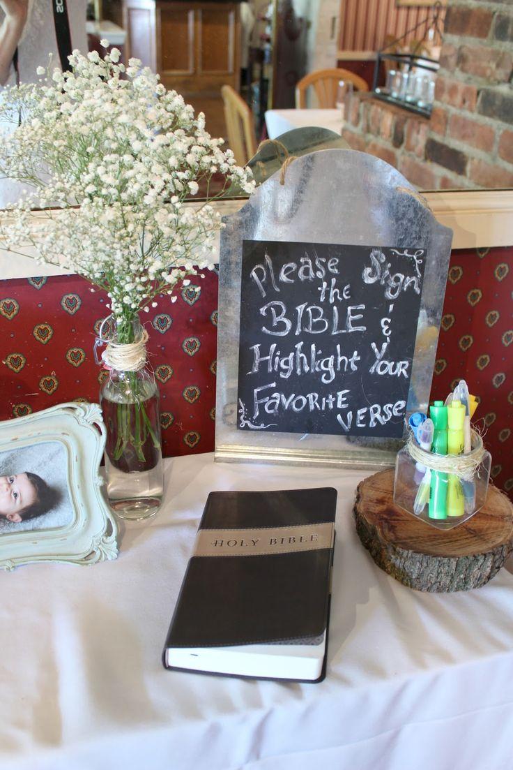 Baby Dedication Christening Baptism Decor Bible Guest Book Celebrations Pinterest Baby