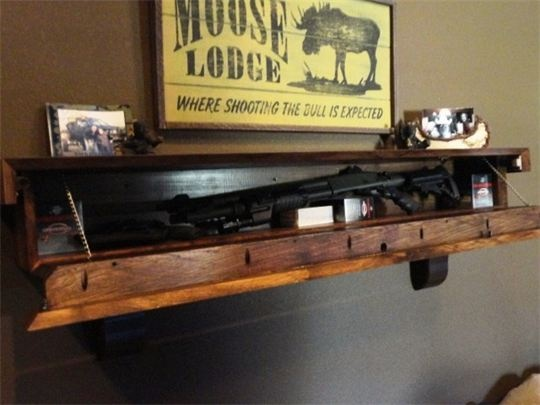 Rustic Barn Wood Mantle With Gun Concealment I WANT ONE