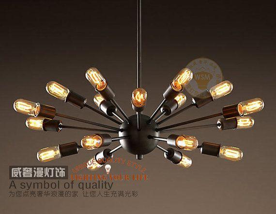 Vintage Large Sputnik Chandelier 18 Lights Lobby Hanging
