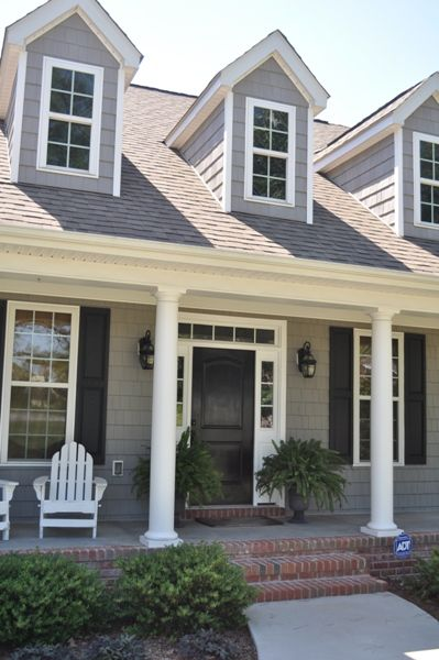 black door + gray shingles + white trim Hopefully I will get to build my dream home: no no no no, this needs a red door and then