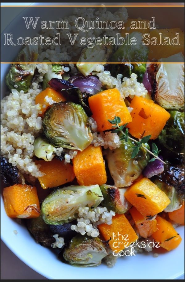 Healthy, high protein grains with roasted fall veggies and a bright vinaigrette: Warm Quinoa and Roasted Vegetable Salad on The