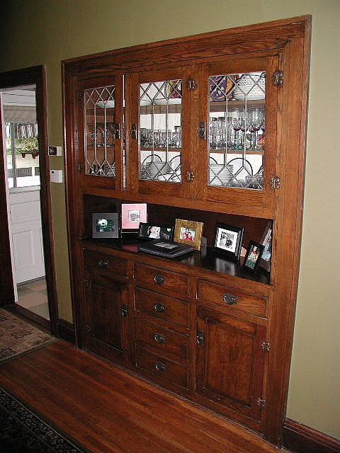 Lovely dining room builtin hutch Great leaded glass