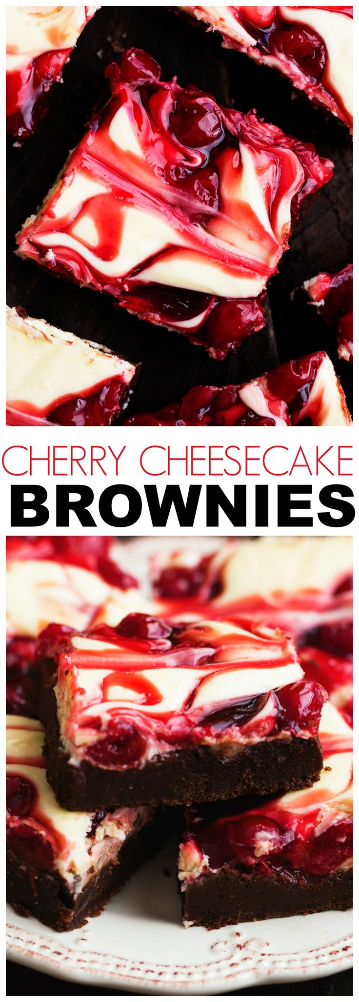 Cherry Cheesecake Brownies are one of the BEST brownies you will make! Three amazing desserts combine in one to bring you a creamy