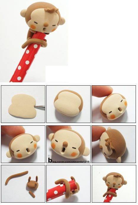 Turorial : How to make a cute monkey polymer clay ...