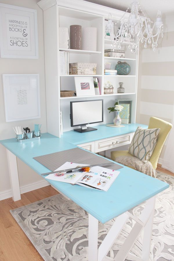 Home office - color for the tabletop, love the art saying about books & shoes, doesn't take much space to have a cute little office!