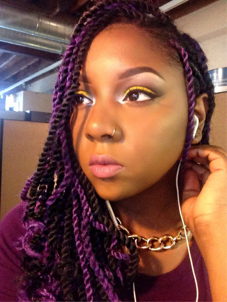 Purple Senegalese Twist With Curled Tips My Hair Journey