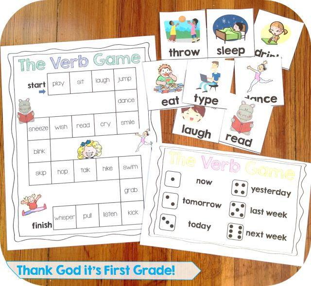 Verb games: charades and a board game to practice using the correct verb tense. These and lots more activities for the first grade